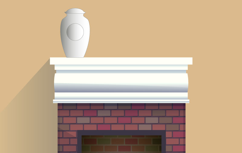 Urn on fireplace